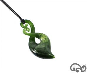 Double koru greenstone twist pendant