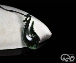 Greenstone fishook pendants