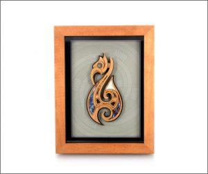 Framed Maori fishhook