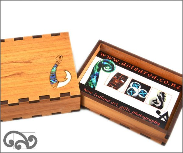 Rimu business card holder, fishhook