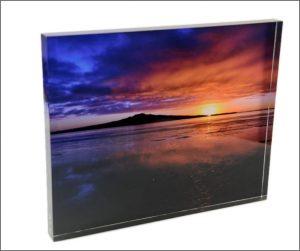 Acrylic photoblock. 'Rangitoto Sunrise'