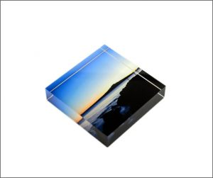 Small acrylic photoblock of Rangitoto Island.