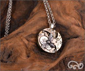 Steampunk silver bee pendant