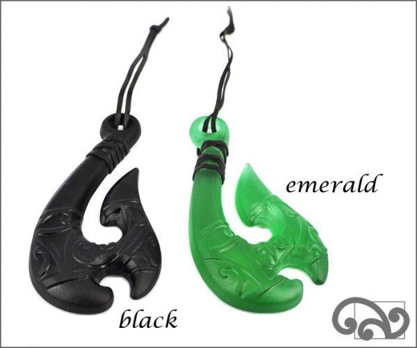 Glass fishhooks with koru design