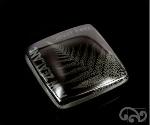 Silver fern glass note weights