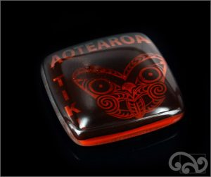 Aotearoa tiki glass note weights