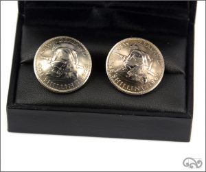 Cufflinks: one shilling coins