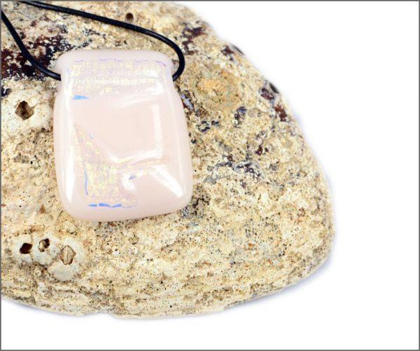 White dichroic glass pendant