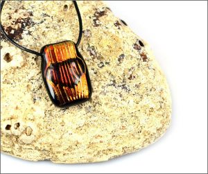 Orange dichroic glass pendants