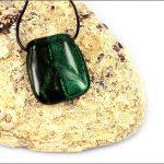 Green dichroic glass pendants