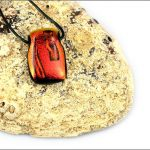 Orange dichroic glass pendant