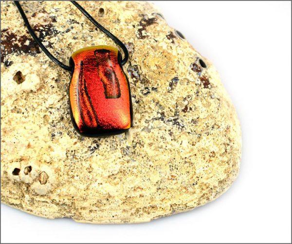 Orange dichroic glass pendant