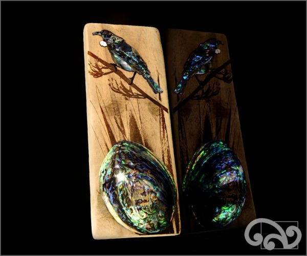 Recycled driftwood with tui and whole paua shell