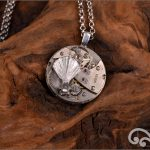Steampunk silver fantail pendant