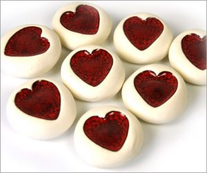 Ceramic heart pebbles