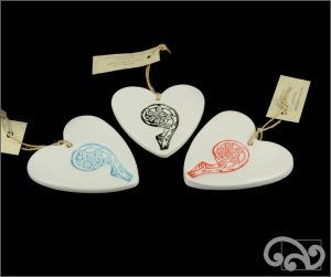 Ceramic hearts with koru