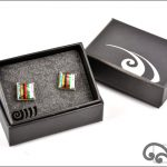 Paua cufflinks with stripes