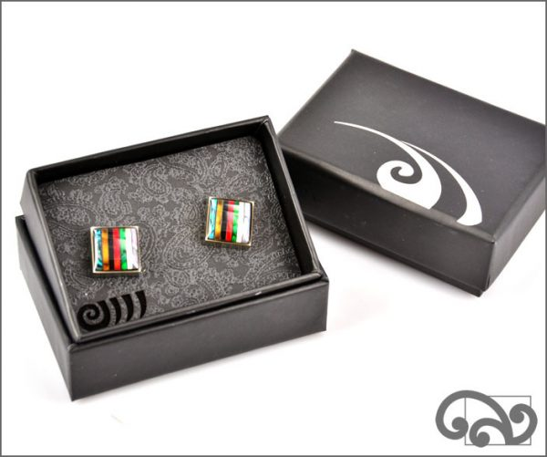 Paua cufflinks with stripes