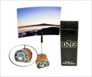 Koru photo holders with paua inlay