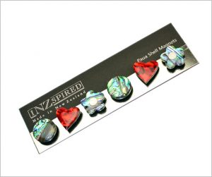 Paua magnets, red heart magnets