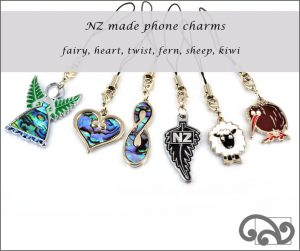 Phone charms with paua inlay