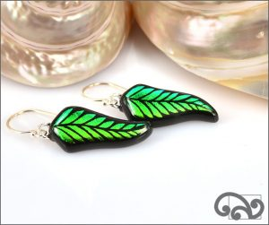 Green glass fern earrings