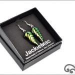 Green fern glass earrings