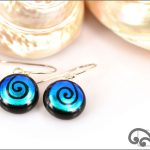 Blue koru glass earrings