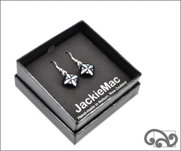 Dichroic glass earrings, silver