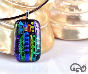 Houses rectangular glass pendants