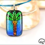 Palm tree glass pendants