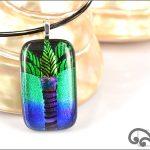 Palm tree glass pendant