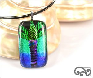 Palm tree glass pendant
