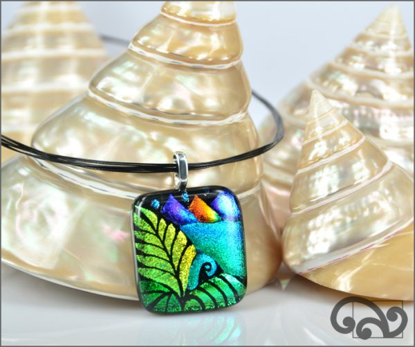 Blue koru glass pendant