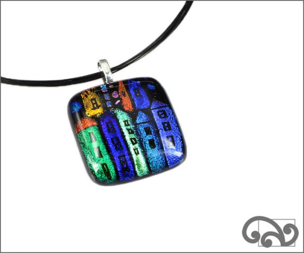 Houses square glass pendant