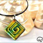 Square koru glass pendant