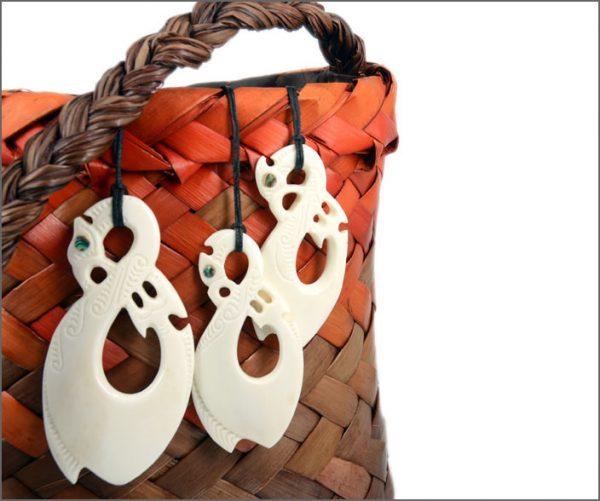 Manaia fishhook bone carving