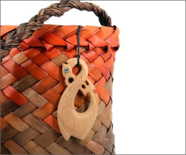 Manaia fishhook wood pendants