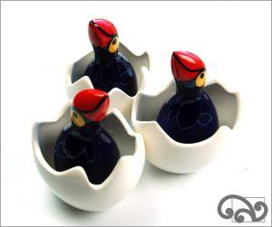 Ceramic pukeko in egg