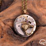 Steampunk mixed metal kiwi pendant