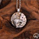 Steampunk silver kiwi pendant