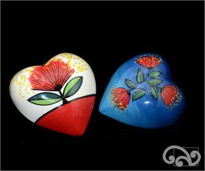 Ceramic wall art hearts with pohutukawa