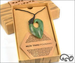 Authentic greenstone fishhook pendant