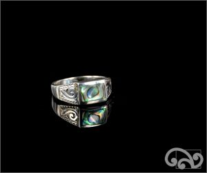 Silver ring with rectangular paua piece