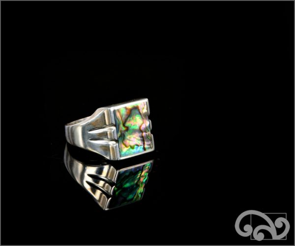 Silver ring with square piece of paua