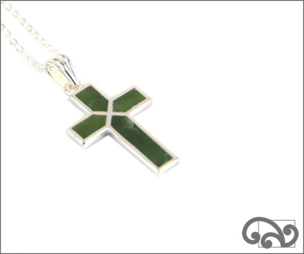 Greenstone cross with silver