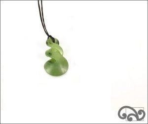 Double twist greenstone pendant