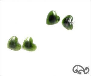 Greenstone heart earrings