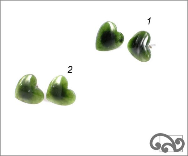 Greenstone heart earrings, studs