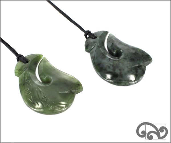 medium greenstone fishhook pendants